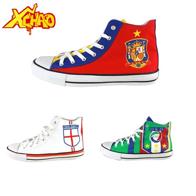 Brazilian flag shoes British flag shoes Spanish flag shoes canvas casual unisex shoes i love hight-top shoes