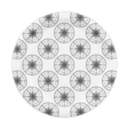 Compass Vintage Rose Paper Plate - retro kitchen gifts vintage ...