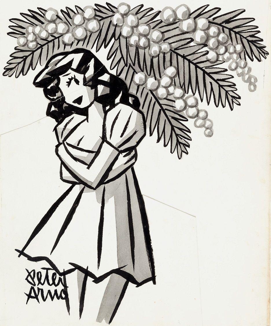 Peter Arno - Girl Under Tree Illustration Original Art