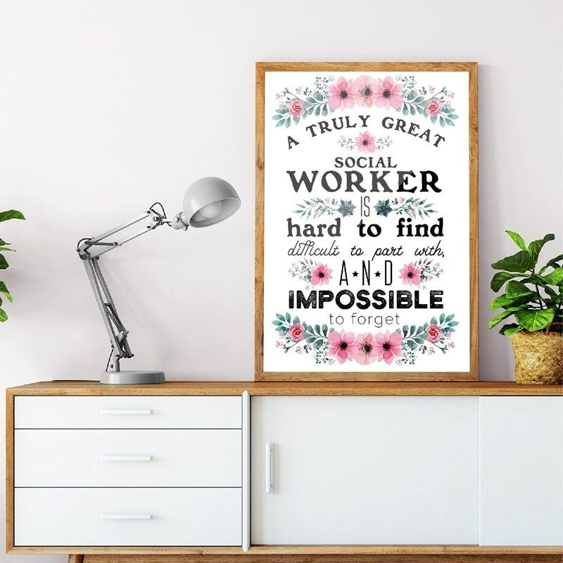 Great Social Worker Gift Appreciation Print And Poster Goodbye Work Inspirational Quote Canvas Painting Office Wall Art Decor Office Wall Art Work Quotes Inspirational Social Worker Gifts
