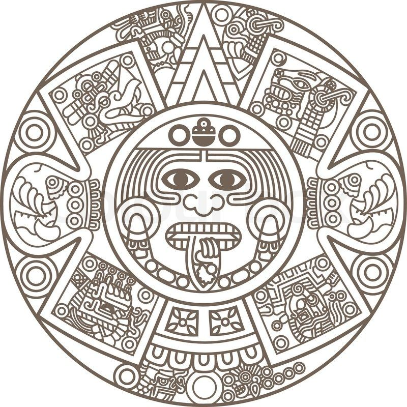 Stylized Aztec Calendar Vector Colourbox On Colourbox Aztec