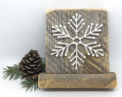 "Sweet and small free standing wooden ""snowy"" snowflake st..."