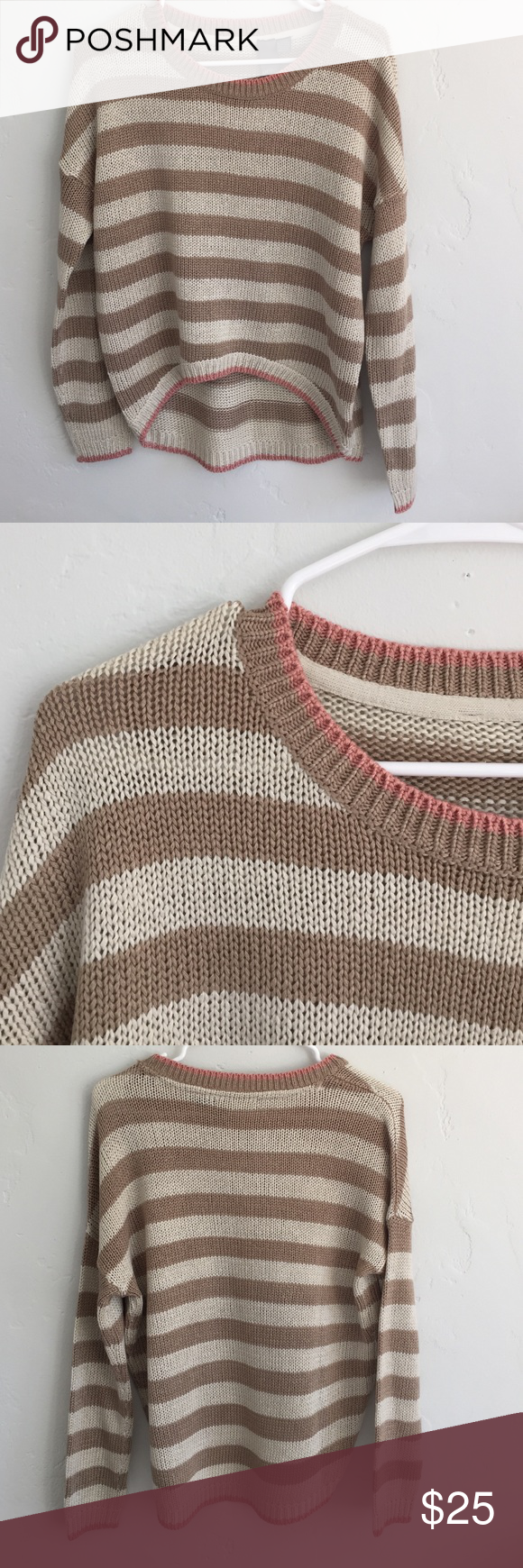 White and light brown striped sweater. This is a gorgeous light ...