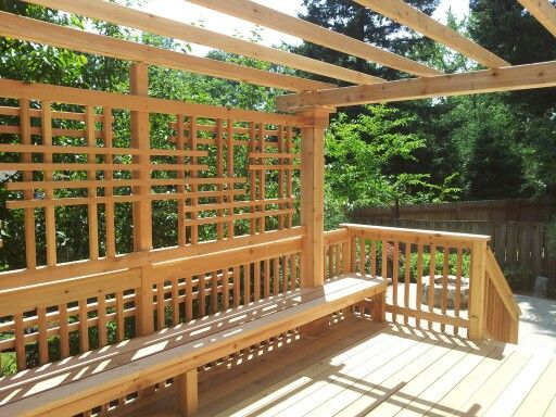 Fine Cedar Deck With Bench Pergola And Privacy Screen By Macs Forskolin Free Trial Chair Design Images Forskolin Free Trialorg