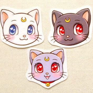 Sailor Moon Cats Luna Artemis Diana Glossy Water-resistant Stickers - Kawaii Anime Neko Large Decal Sticker, Paper Bookmarks, Laptop Sticker