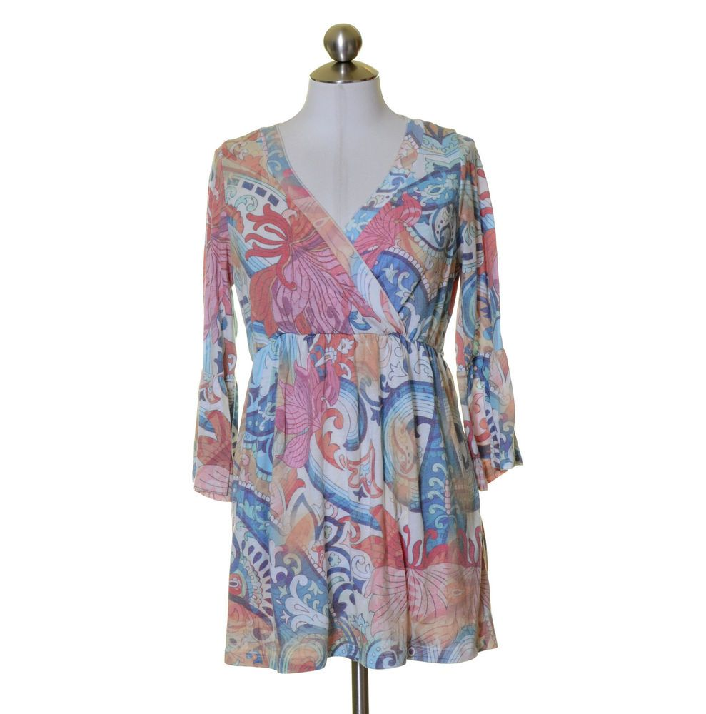 One World White Pink Blue Soft Knit Artsy Print Top Size M #OneWorld #KnitTop #Casual