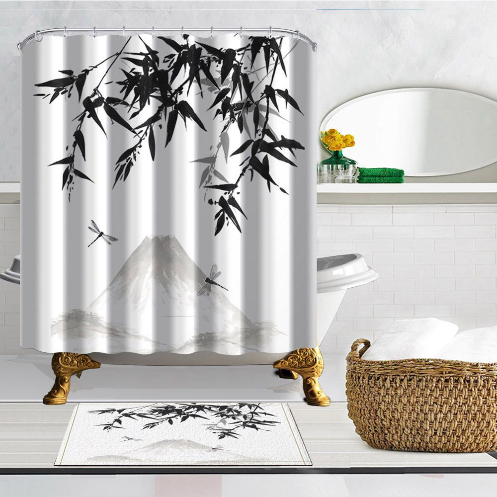 Chinese Ink And Wash Theme Waterproof Home Decor Shower Curtain
