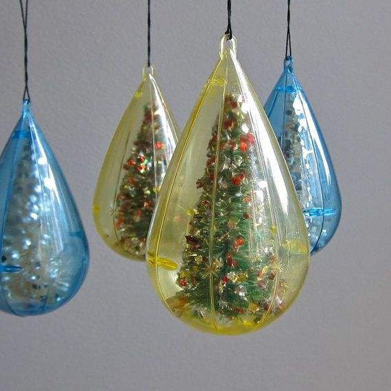Jewel Christmas Tree Decorations: Vintage Christmas Ornaments With Bottle Brush Trees By