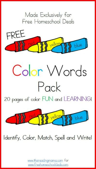 Free Download: Color Words Printable Worksheets Pack - 20 Pages ...