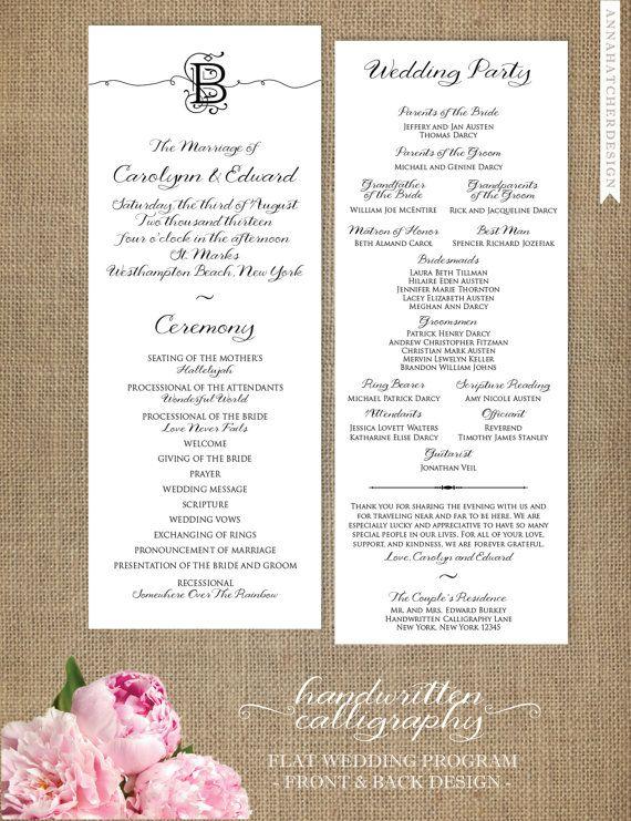 Handwritten Calligraphy Wedding Programs 5x5 Folded or 425x11