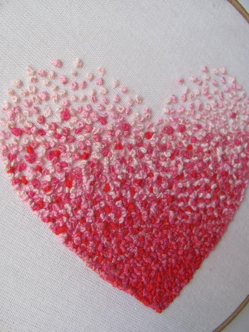 Embroidery French knot pink heart hoop art | French knot ...