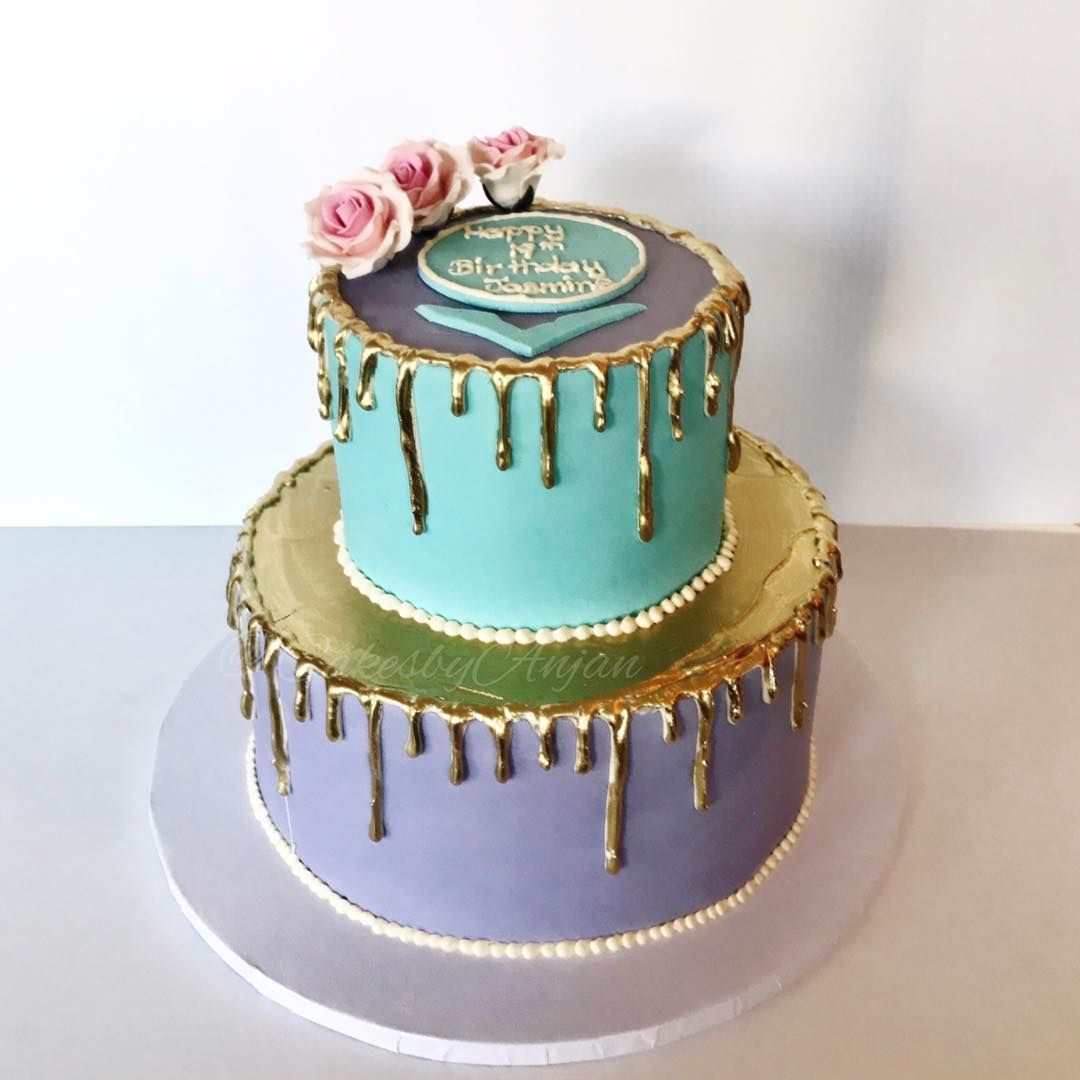 19th Birthday Cake Gold Drip Cake By Anjan Cakesbyanjan On