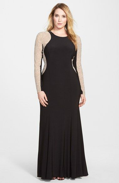 559fb181 Free shipping and returns on Xscape Embellished Jersey Gown (Plus Size) at  Nordstrom.com. Sumptuous sheer mesh with sparkling embellishments gives  both ...