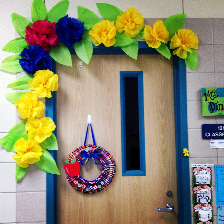 Spring door decoration for Cork board decorating ideas pinterest