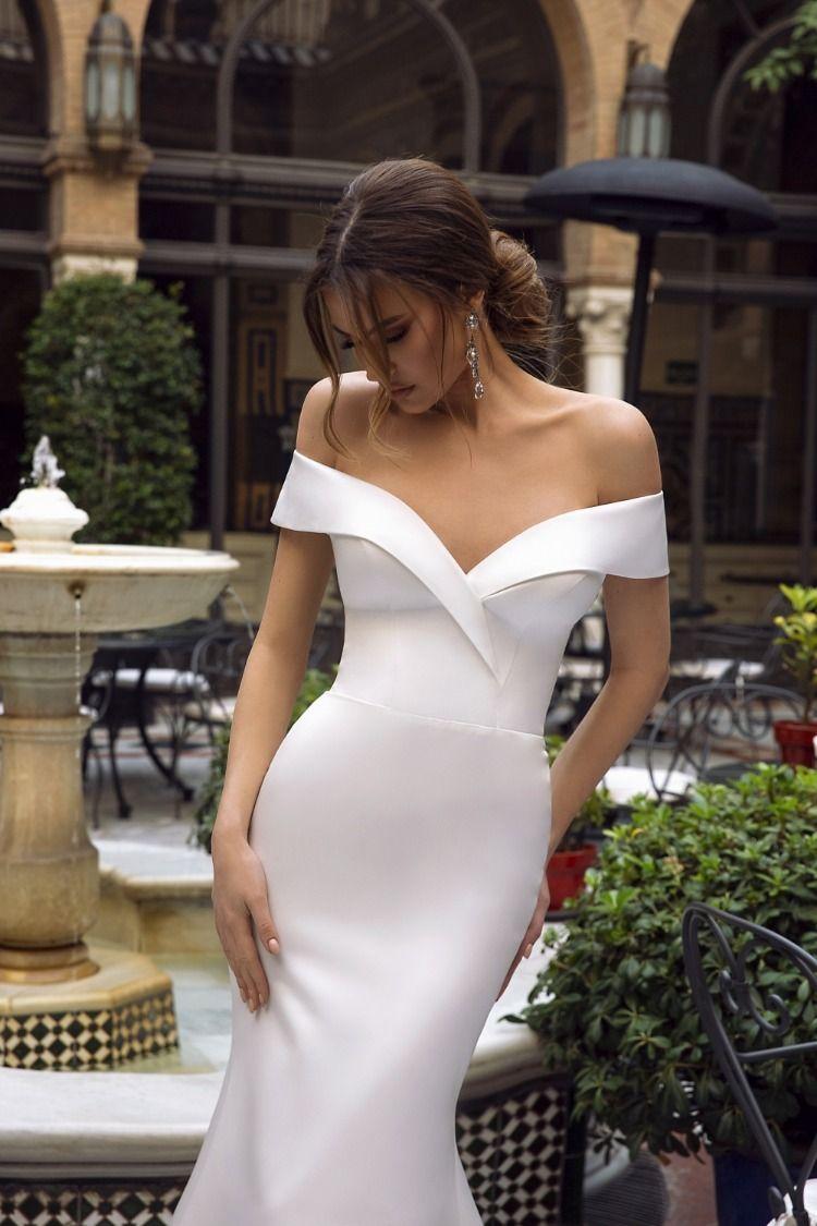 Tina Valerdi Estelle Classy Wedding Dress Satin Mermaid Wedding Dress Civil Wedding Dresses [ 1125 x 750 Pixel ]