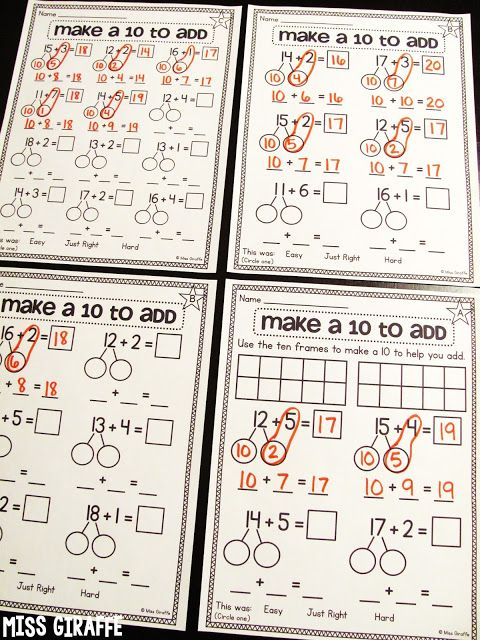 Making A 10 To Add Math Pinterest Math Math Activities And