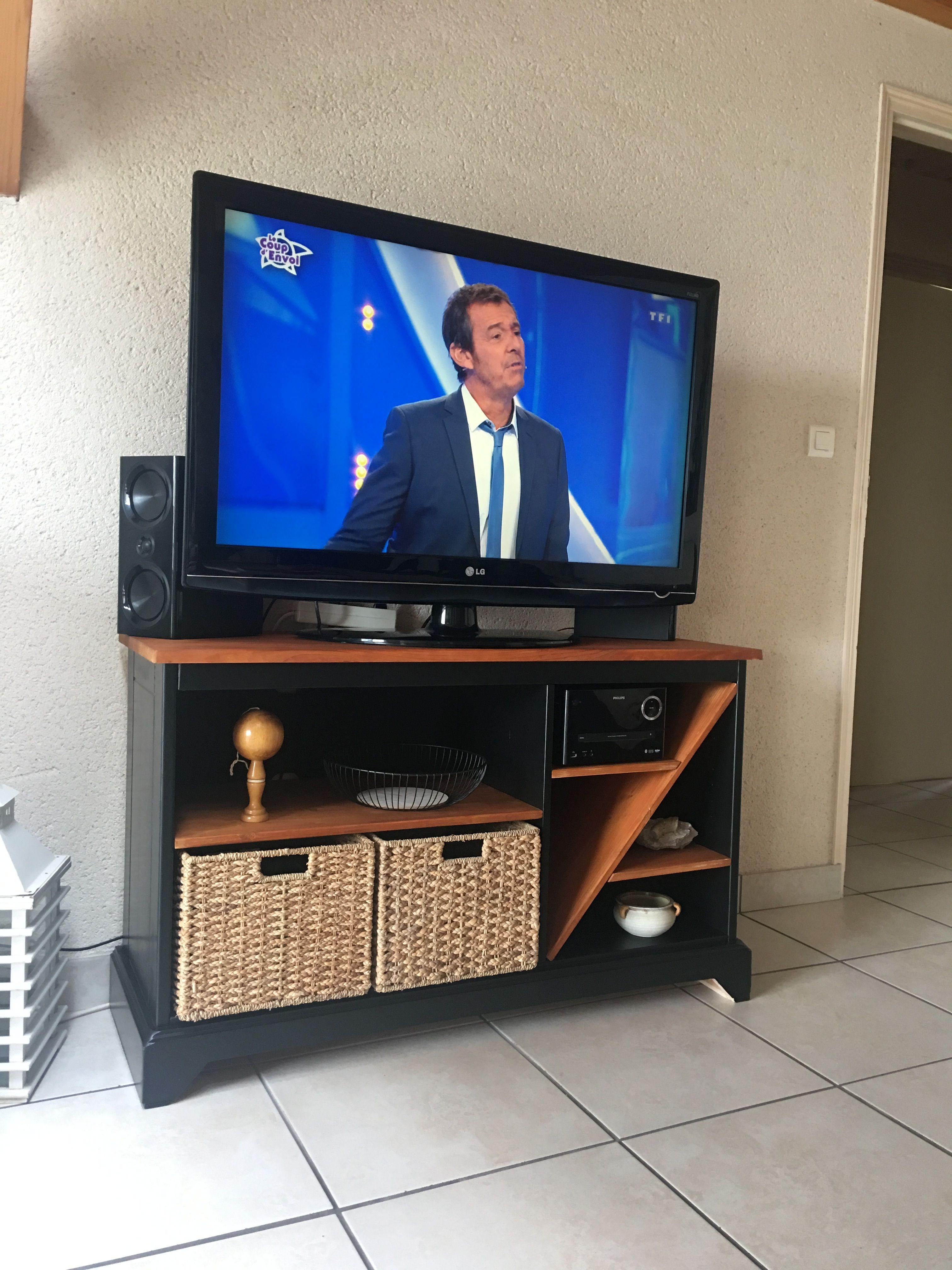 Meuble Tv Relooke Bois Noir Panier Meuble Tv Relooker Meuble Meuble