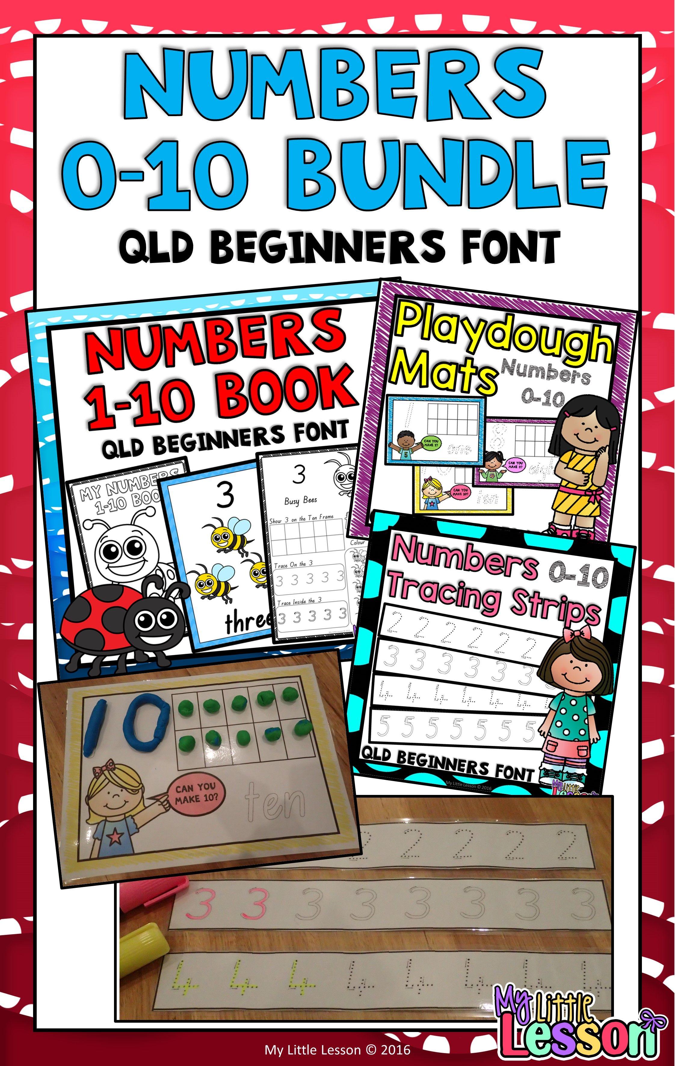 Numbers 0 10 Bundle Qld Beginners Font Worksheets
