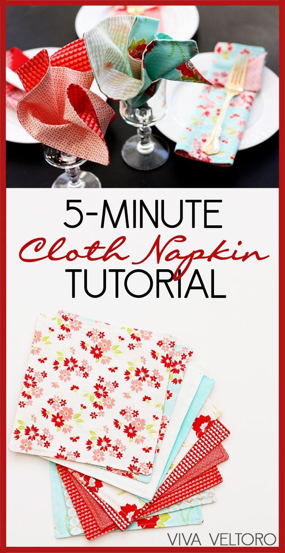 Diy 5 Minute Cloth Napkins Tutorial Napkin Tutorial Diy Sewing