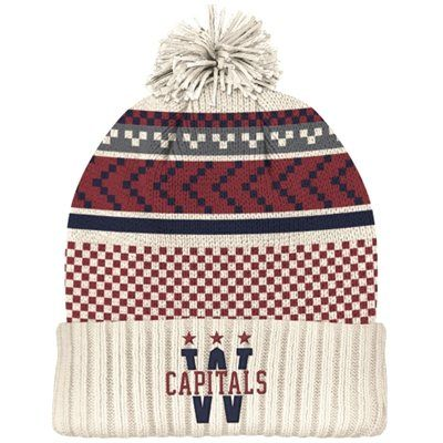 Mens Washington Capitals White Red 2015 Winter Classic Cuffed Knit Hat with  Pom 36033e81765