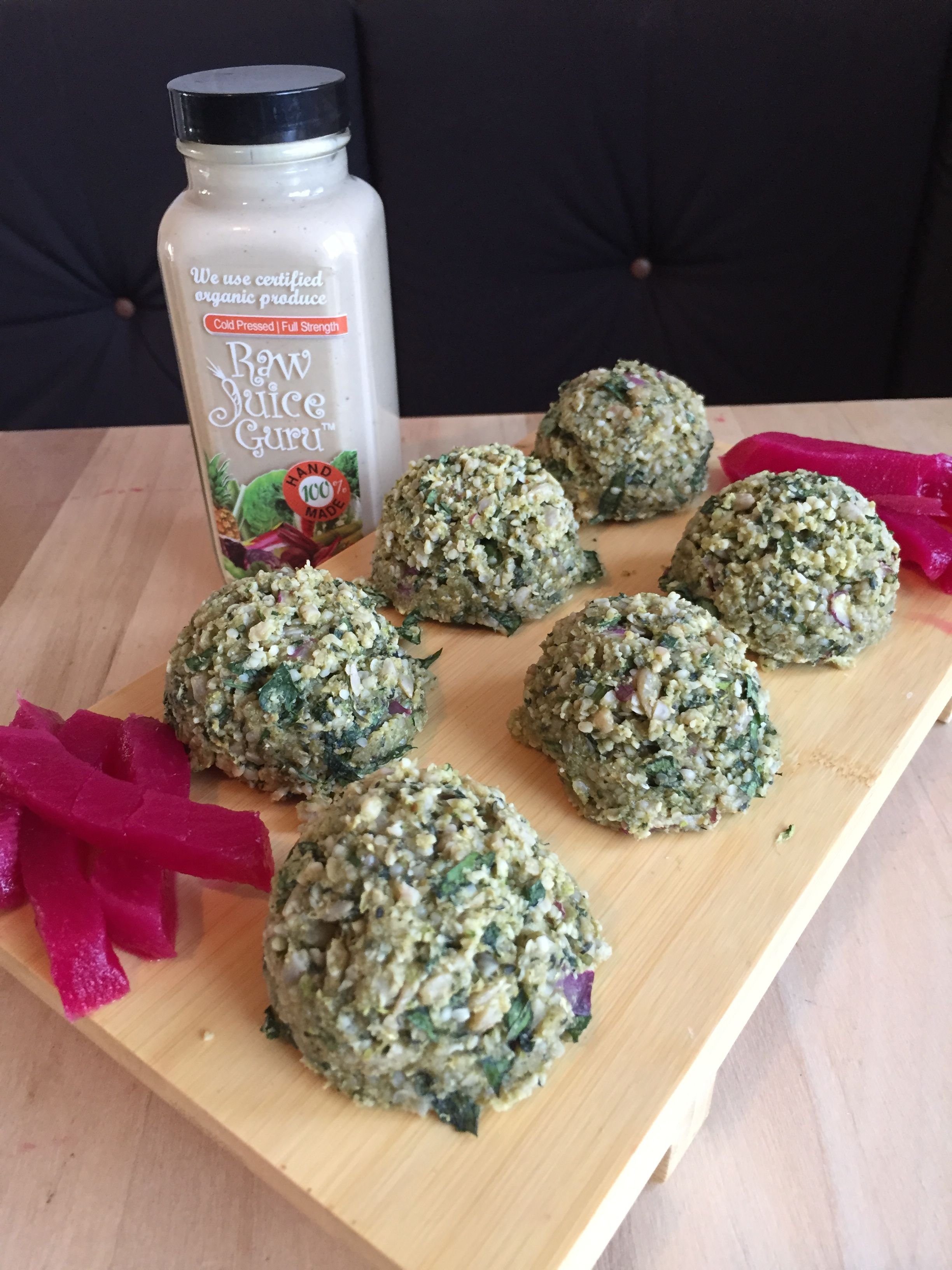 Raw vegan zuchinni and sunflower seed Falafel with raw
