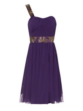 Jane Norman Purple one shoulder embellished prom dress