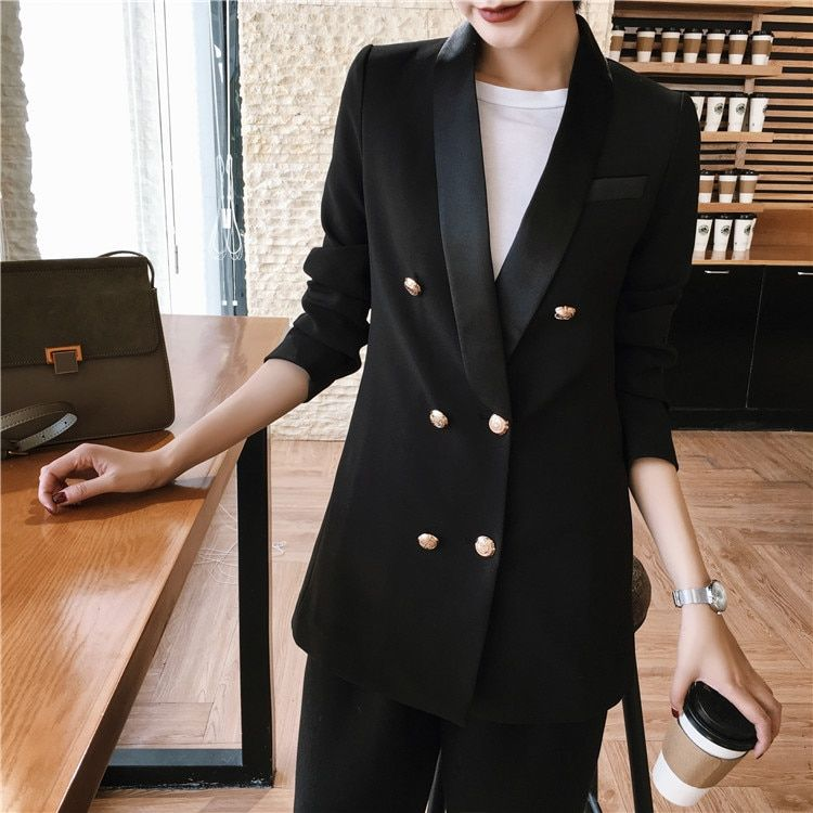 Womens Slim Blazer Suit Jacket Outwear Double Breasted Long Trench Coat Overcoat