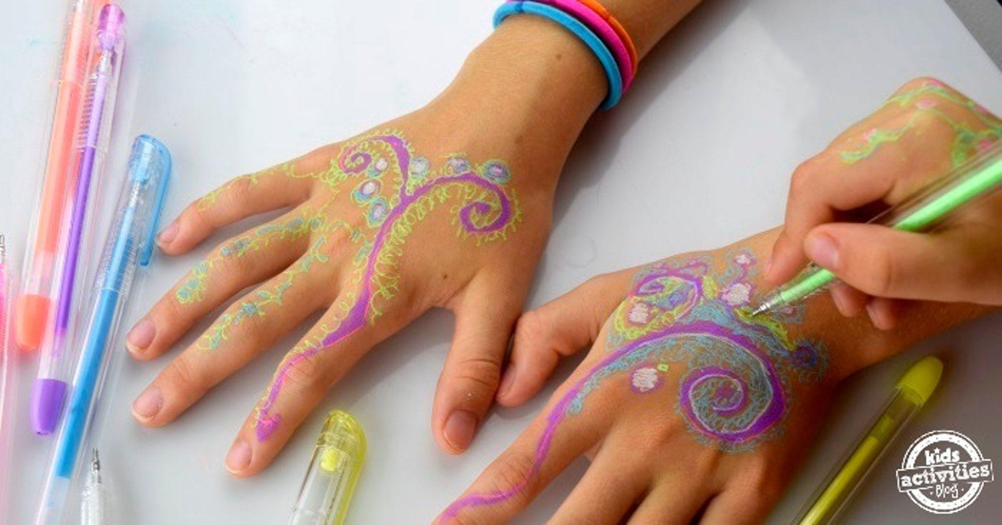 Henna Hands With Gel Pens Kids Activities Gel Pens Tattoos For Kids Pen Tattoo
