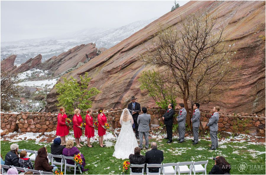A Rainy Wedding Ceremony Under The Awning At Red Rocks Trading Post Backyard In Morrison Colorado April O Hare Photography Http Www Aprilohare