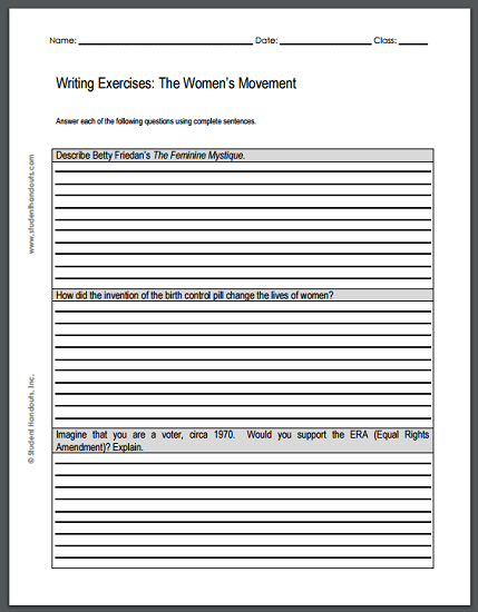 Womens Rights Movement Essay Questions  Sheet Of Three Writing  Womens Rights Movement Essay Questions  Sheet Of Three Writing Exercises  Is Free To Print