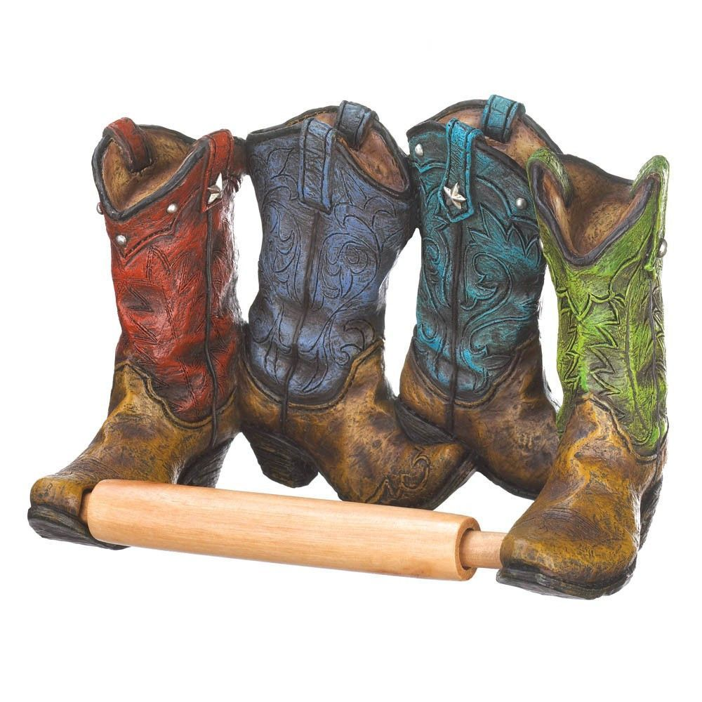 Cowboy bathroom decor - Cowboy Boots Toilet Paper Holder Mnm Gifts
