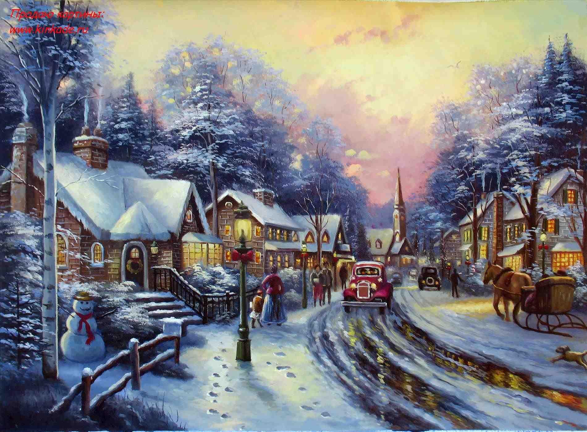 New Post-thomas kinkade christmas village painting-Trendingcheminee ...