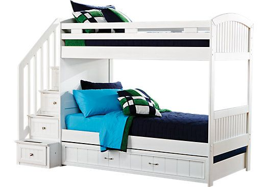 Shop For A Cottage Colors White Twin Twin Step Bunk Bed At Rooms To Go Kids Find That Bunk Beds With Stairs Bedroom Furniture Stores Bunk Beds For Girls Room