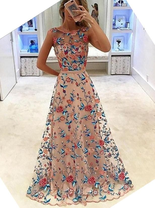 A-Line Bateau Tulle Long Prom Dress with Floral Embroidery ...