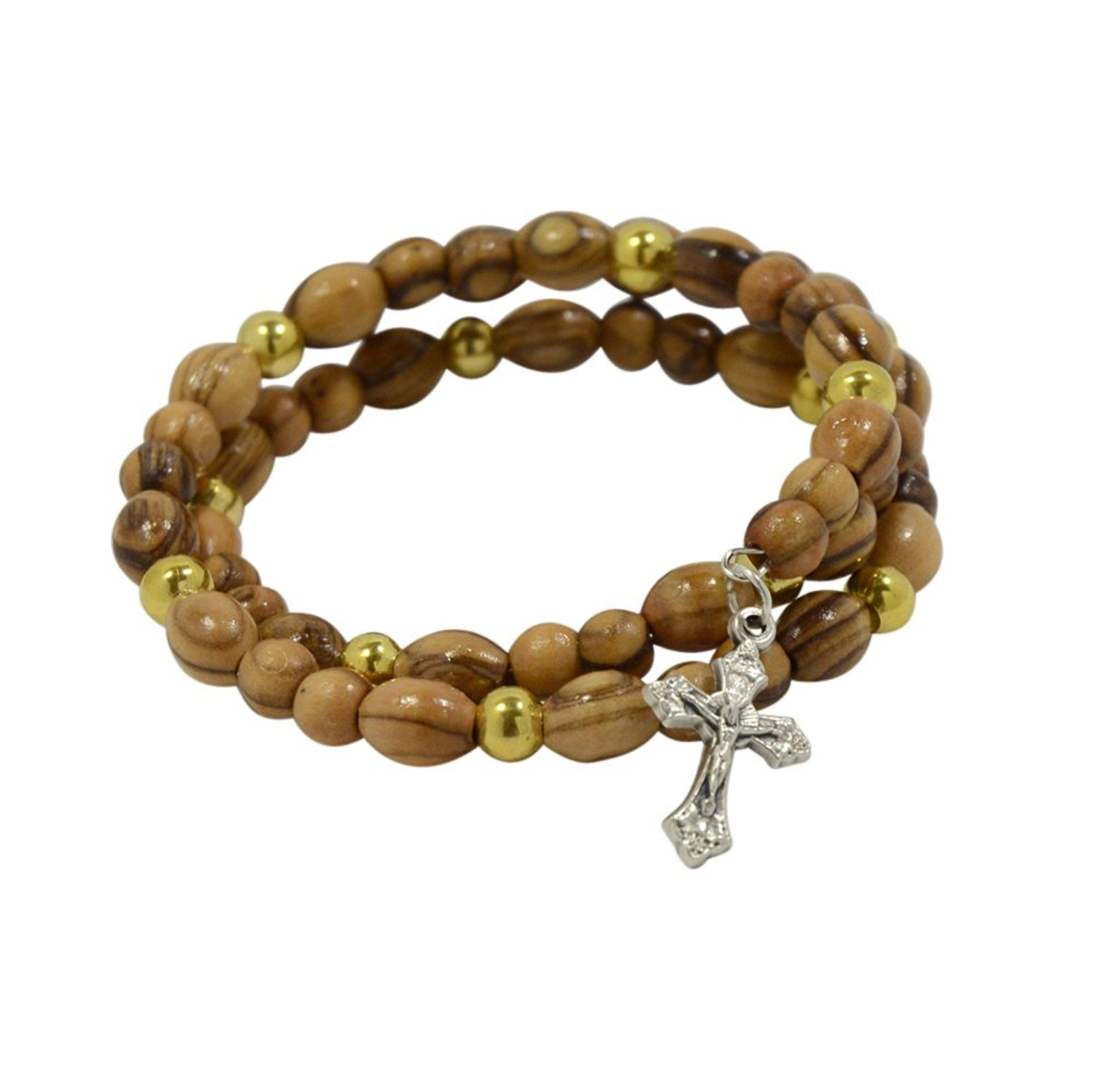 Authentic olive wood rosary beads bracelet with cross and golden