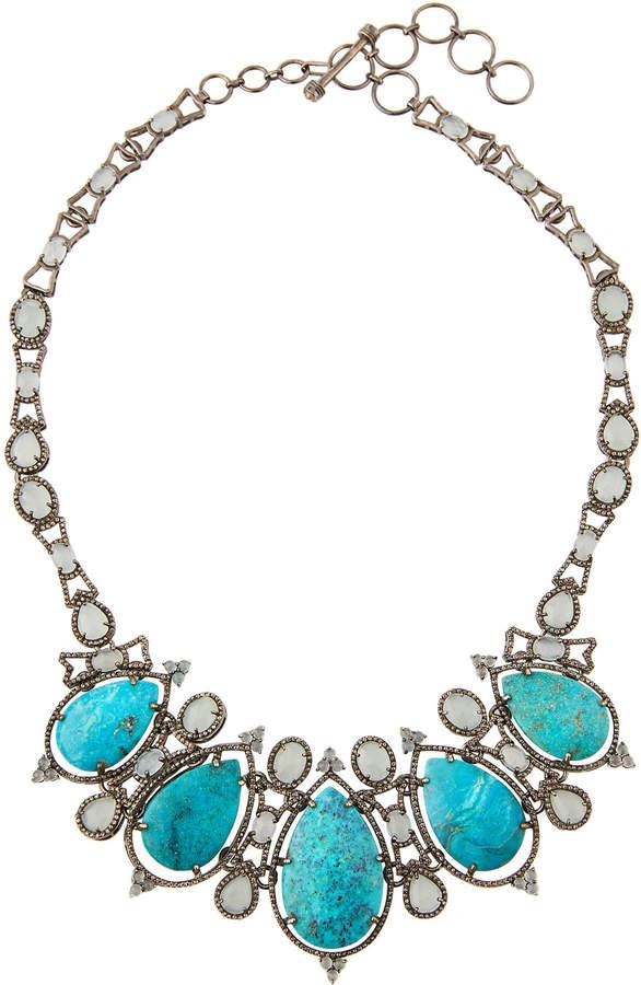 Bavna Turquoise Statement Necklace w/ Aquamarine NqZbMCr