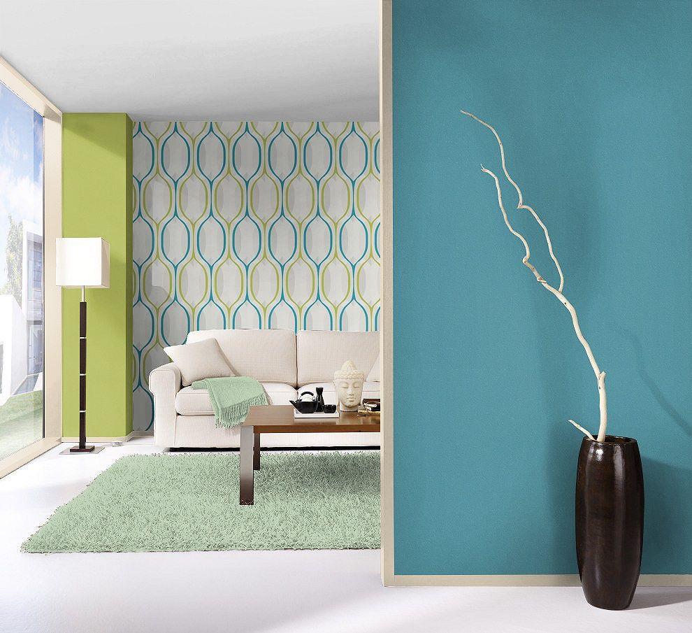 tapeta , salon , niebieski , zielony