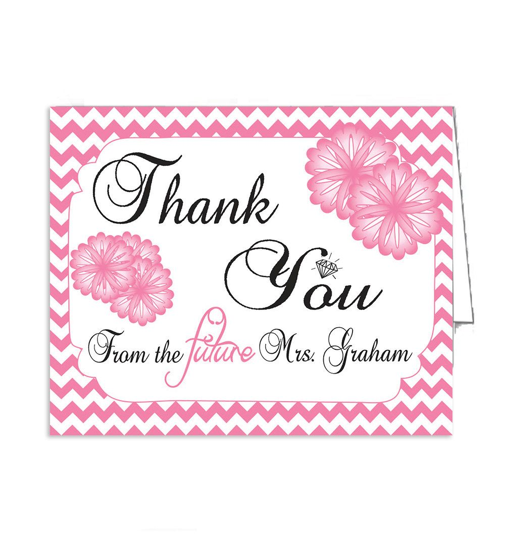 Bridal shower thank you card printable by thevintagepen on