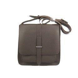 Hermes Deep Coffee Cow Leather Messenger Bag