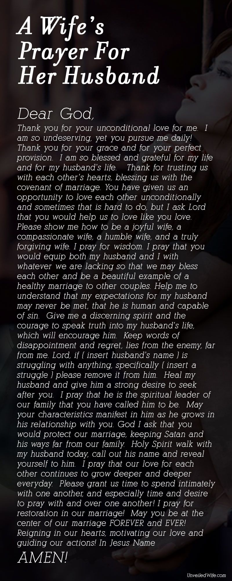 A wifes prayer for her husband marriage prayer and holy spirit a wifes prayer for her husband mitanshu Choice Image