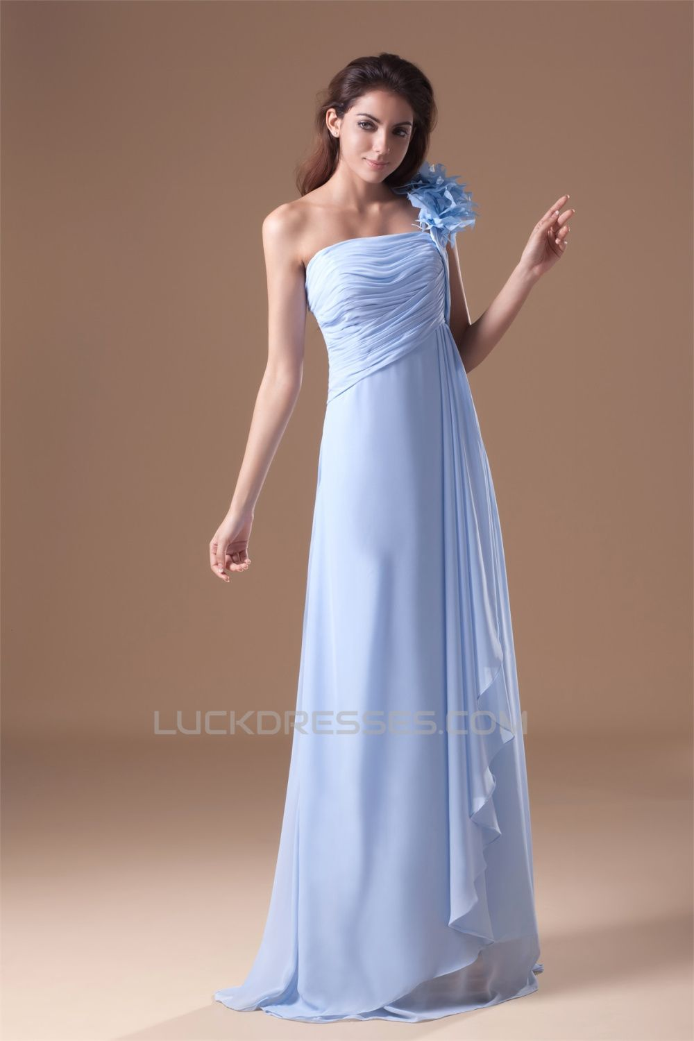 Aline oneshoulder long promformal evening bridesmaid dresses