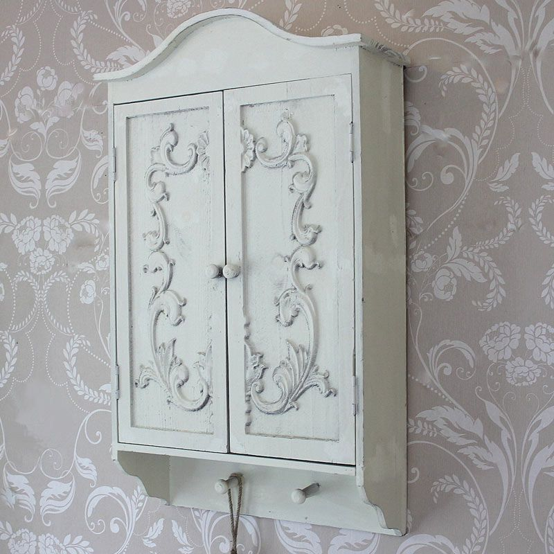 shabby chic easter decor on sale.htm heavily distressed ornate ivory cream wall cabinet with hooks  ornate ivory cream wall cabinet