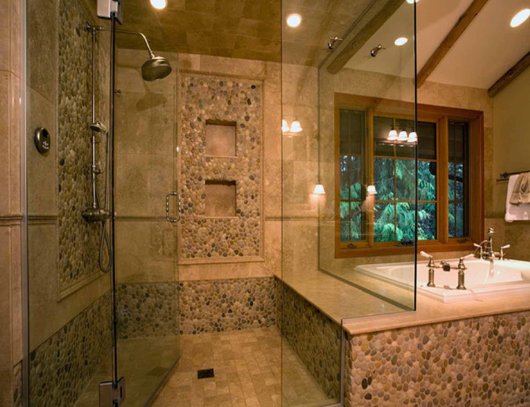 Natural Stone Bathroom Designs : Natural Stone Tile Bathroom Pictures With  Brown Natural Stone Flooring And Bathroom Shower Glass Design Then Shower  ...