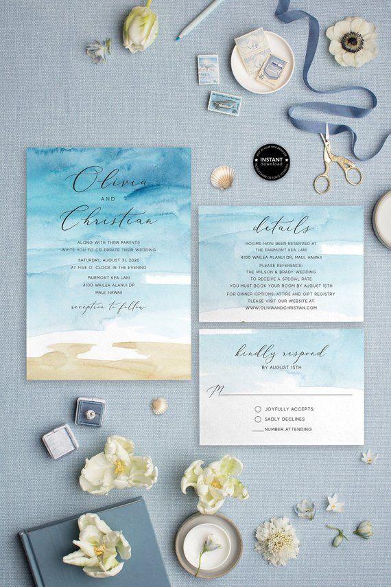 105+ Beach Wedding Invitation Template, Destination Wedding Invitations, Watercolor Wedding Invite, Instant Download, LSS21