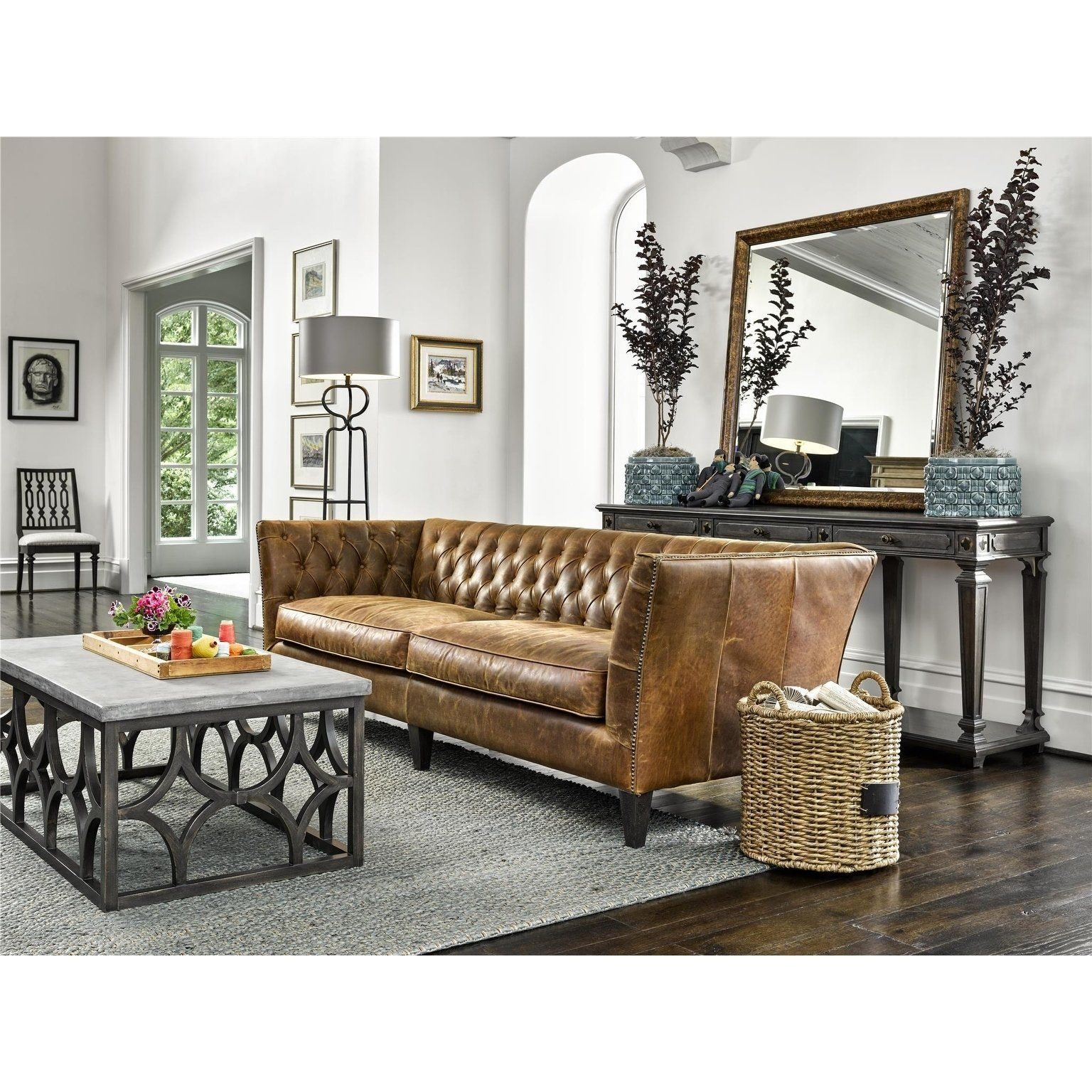 Everett Tufted Leather Settee In 2019: Universal Furniture Duncan Chestnut Leather Sofa, Brown