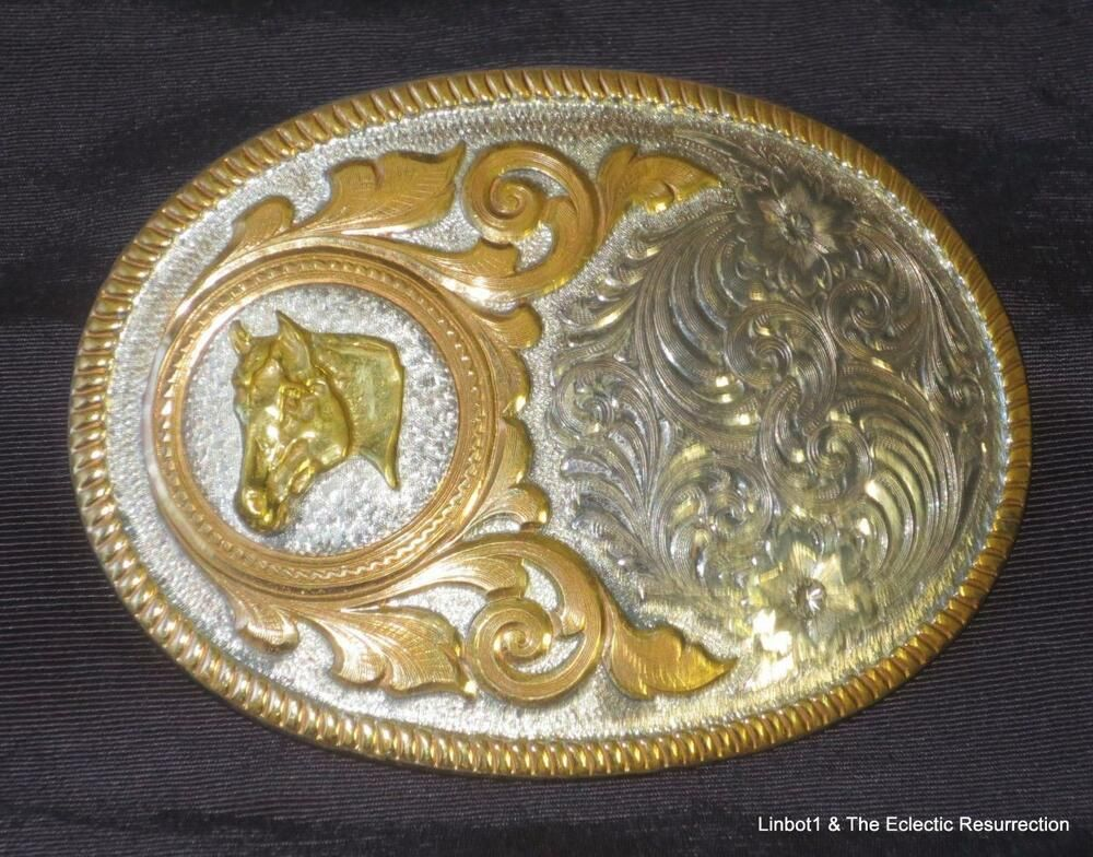 3b4df1d7f Vintage Montana Silversmiths Silver Plate Horse Head Cowboy Belt Buckle   MontanaSilversmiths