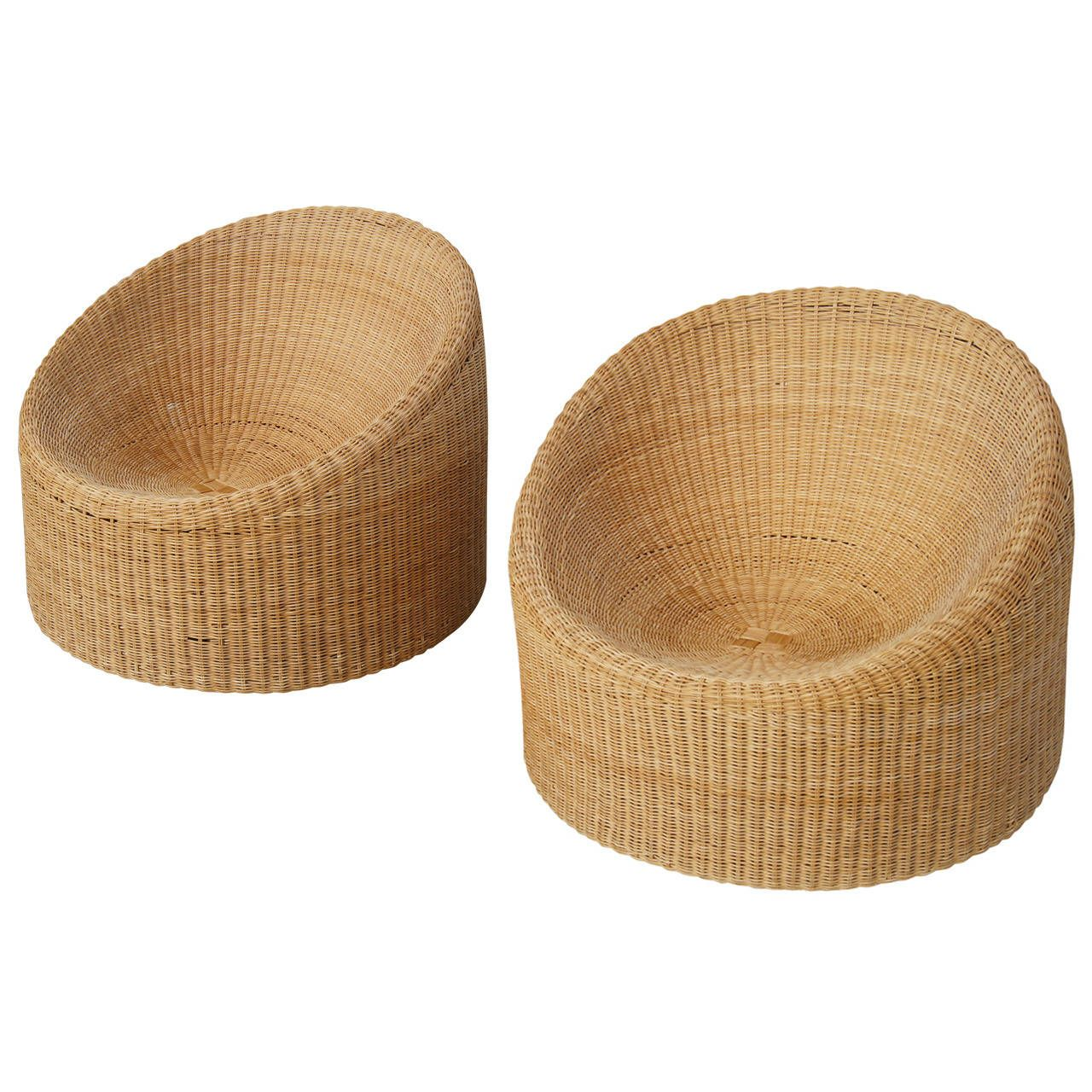 Pair Of Wicker Chairs Designed In Finland By Famed Designer Eero Aarnio, A  Unique Round Design Composed Of Woven Wicker.