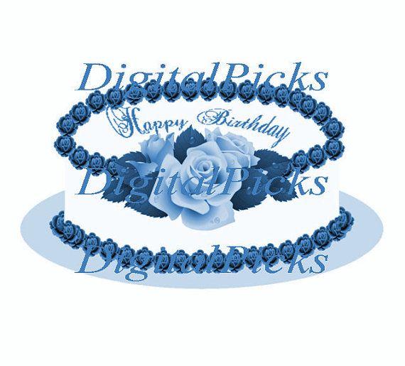 12x7417 Blue Rose Happy Birthday Cake Digital Clip Art PNG JPEG