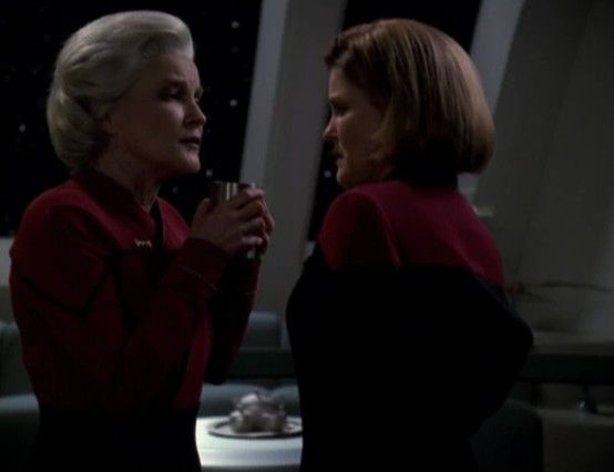 """Star Trek: Voyager Screencap--""""Endgame""""...When Granny Janeway shows up from the future claiming she no longer drinks coffee."""