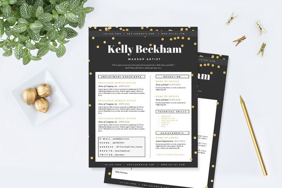 Check out Sparkling Gold Resume Template Pkg by JannaLynnCreative - make up artists resume
